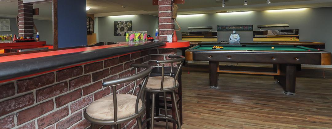 Large basement games room
